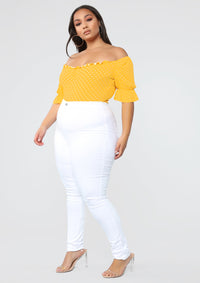 If You Believe Dot Bodysuit - Mustard