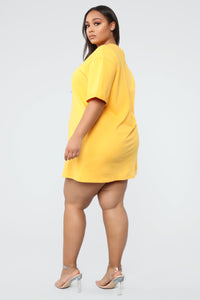 What A Girl Wants T Shirt Dress - Yellow