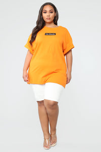 No Thanks Tunic Top - Orange Angle 2