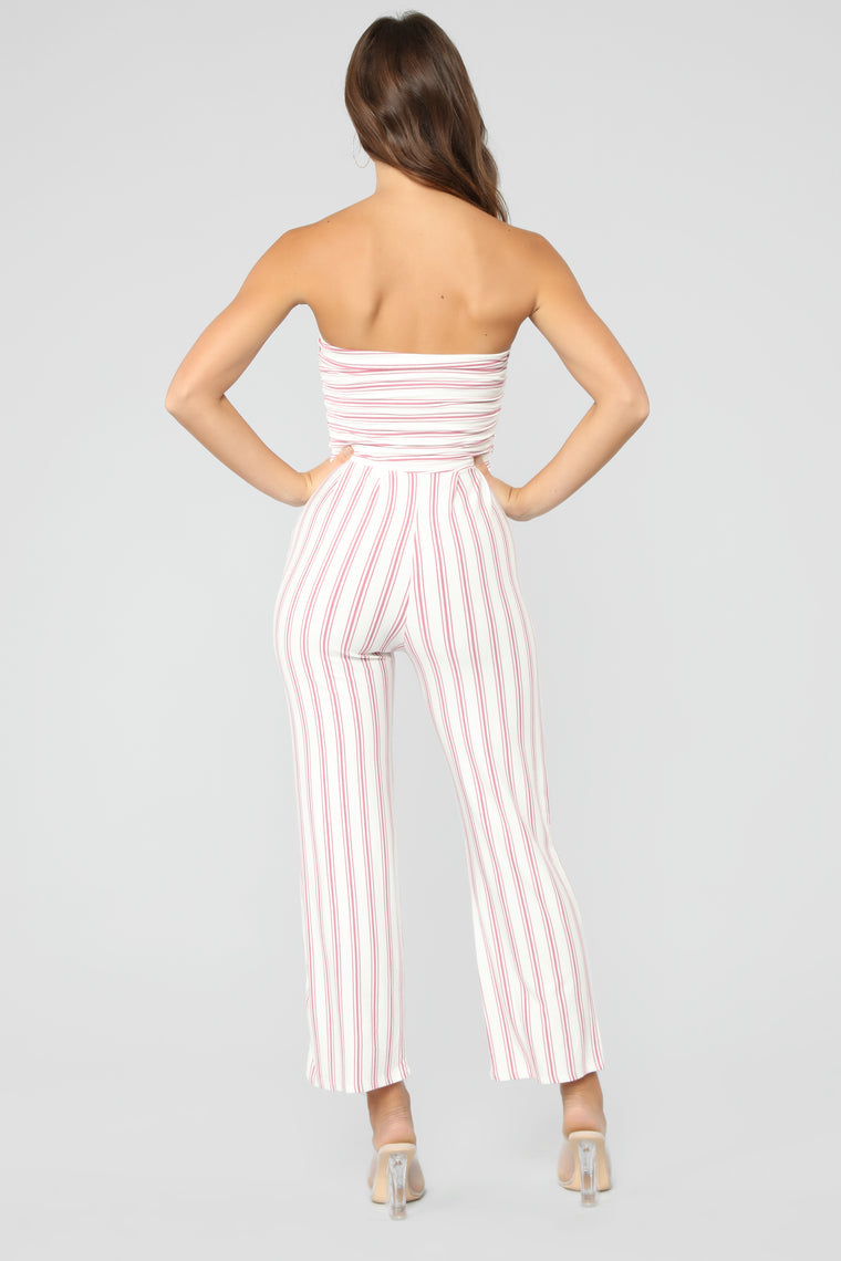 Easy Breezy Stripe Jumpsuit - Rose/Combo
