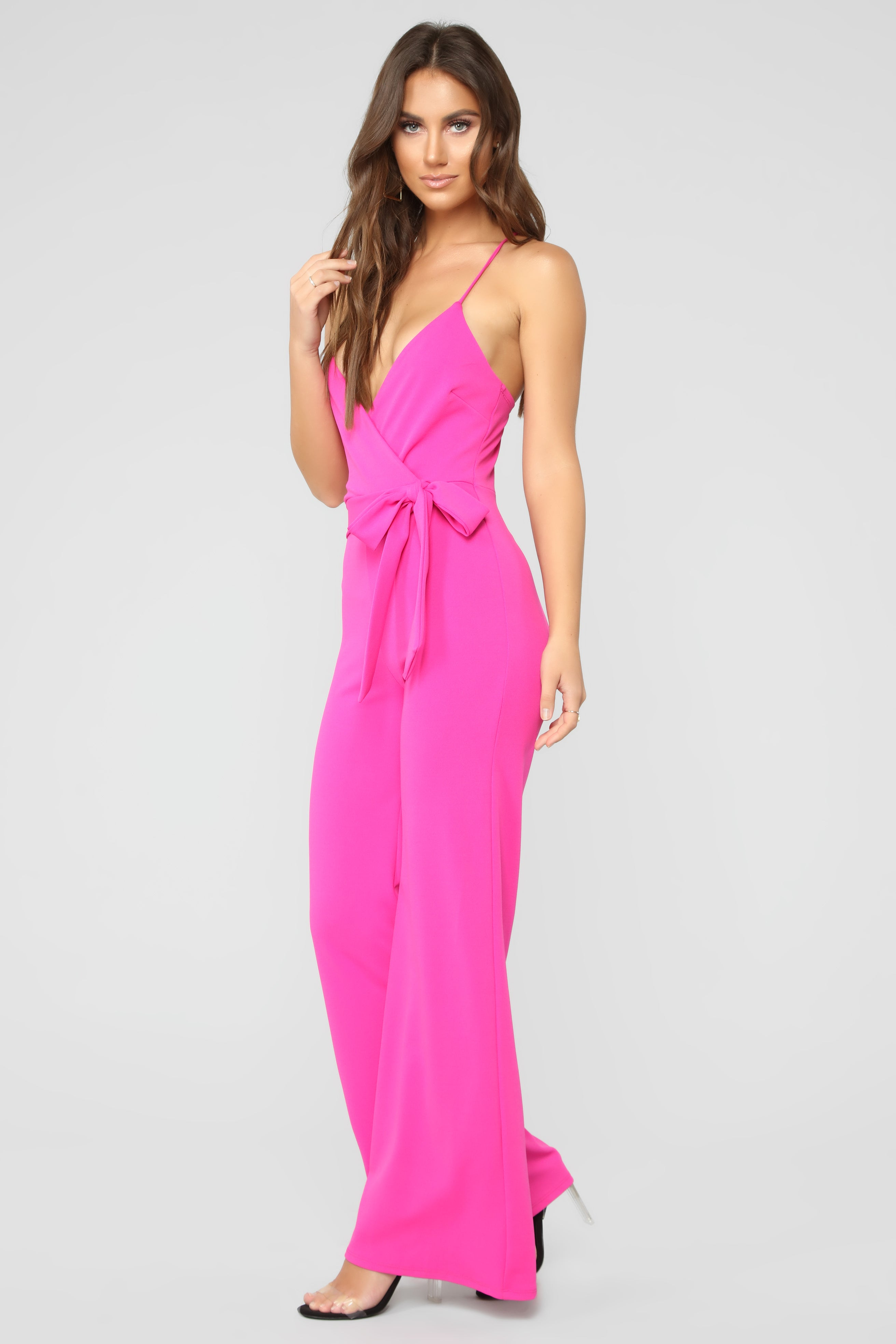 b88cd457603 Sealed With A Bow Jumpsuit - Fuchsia