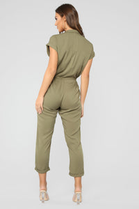 Head Start Button Front Jumpsuit - Olive