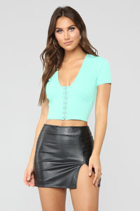 Roxi Ribbed Top - Mint
