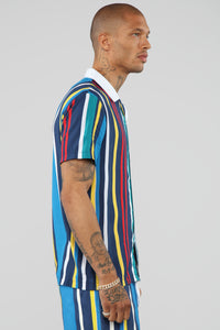 Jae Striped Short Sleeve Shirt - Blue/Black