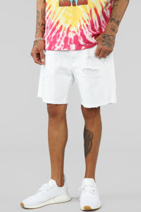 Martin Denim Shorts - White Angle 1