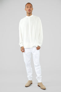 Empire Long Sleeve Woven Top - White