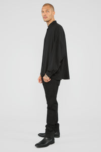 Empire Long Sleeve Woven Top - Black