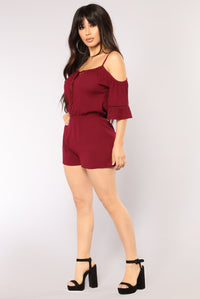 Taz Cold Shoulder Romper - Burgundy