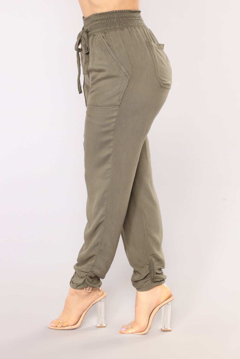 Lindsey Linen Joggers - Olive