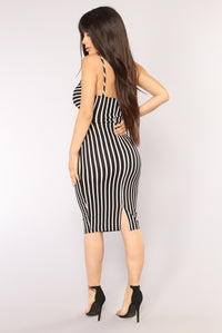 Rylee Striped Dress - Black