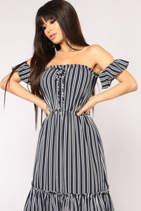 Ship In A Bottle Stripe Dress - Navy/Ivory