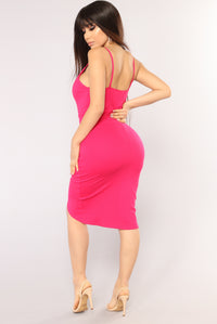 Deanna Asymmetrical Dress - Fuchsia