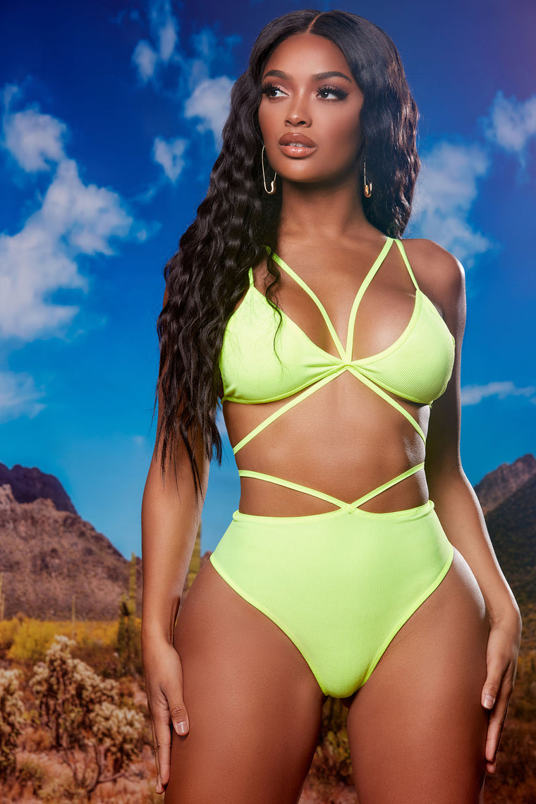 Miami Summer Strappy 2 Piece Dance Set - Neon Yellow