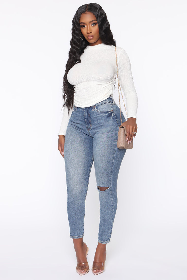 It's Not That Serious Ruched Long Sleeve Top - Ivory