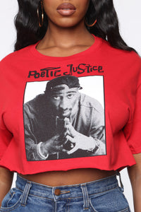 Poetic Justice Crop Top - Red Angle 4