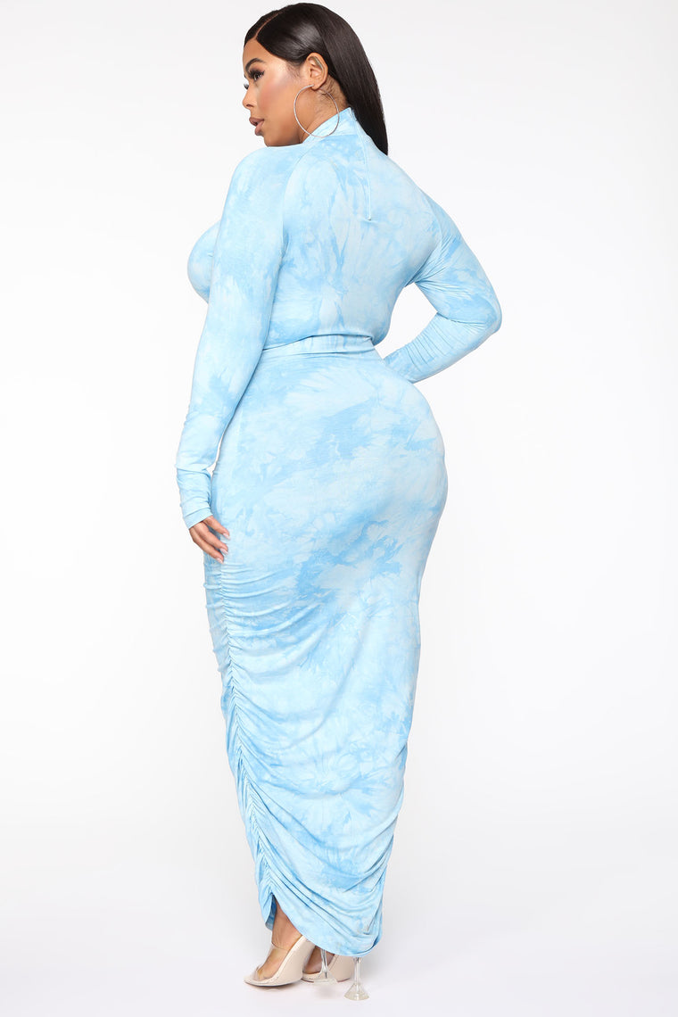 Want To Be Me Tie Dye Maxi Dress - Blue