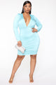 Back And Boujee Ruched Mini Dress - Aqua
