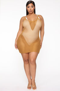 Exotic Dreams Cover Up Dress - Mustard Angle 1