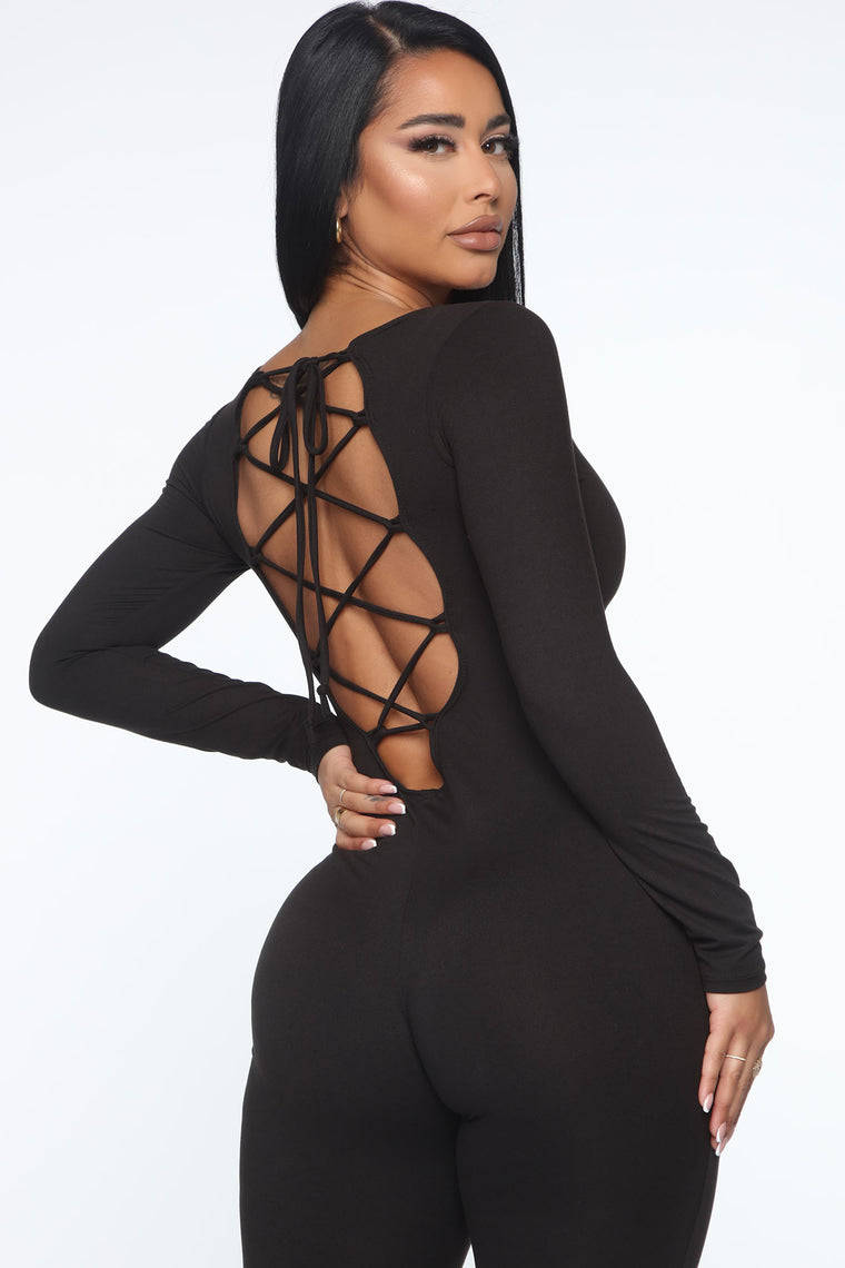 Chilly Spine Lace Up Jumpsuit - Black