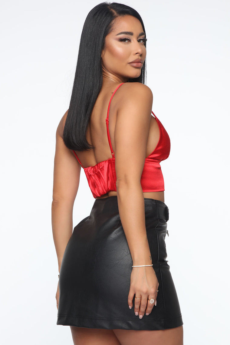 Yours For The Evening Cropped Top - Red