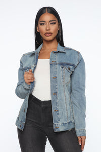 Wasn't Meant To Be Denim Jacket - Medium Wash Angle 2