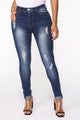 Rebekah Distressed Ankle Jeans - Dark Wash