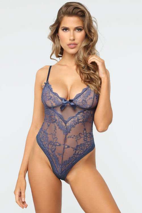 Perfect Bow Lace Teddy - Blue 654abc8819
