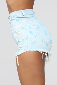 Why Don't You Say So Distressed Shorts - Light Blue Wash