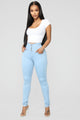 Watch Me Walk Skinny Jeans - Light Blue Wash