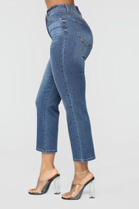Not Holding Back Crop Jeans - Dark Denim