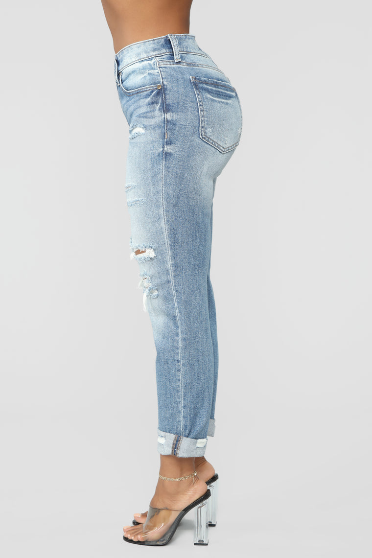 Not Your Girlfriend Mid Rise Jeans - Medium Blue Wash