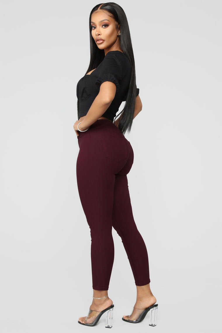 It's A Good One Crop Jeans - Burgundy