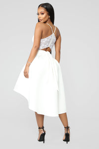 Just A Kiss High Low Dress - White Angle 4