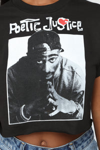 Poetic Justice Crop Top - Black Angle 6