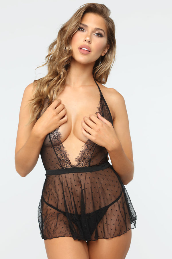52dda3381bb Sweet And Sheer Lace Babydoll 2 Piece Set - Black