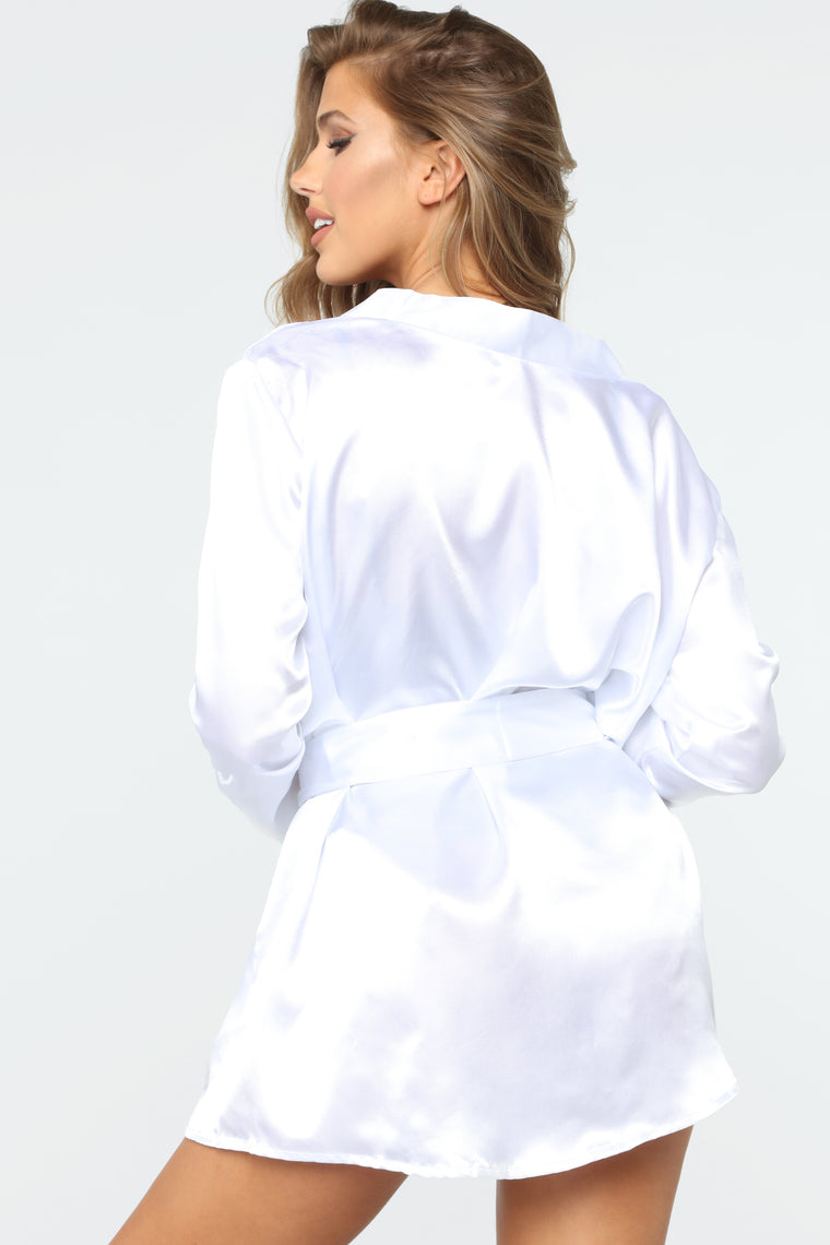 Touch Of Sweet Love Satin Robe - White