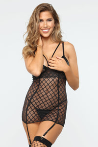 Watching From My Window Mesh 2 Piece Set - Black