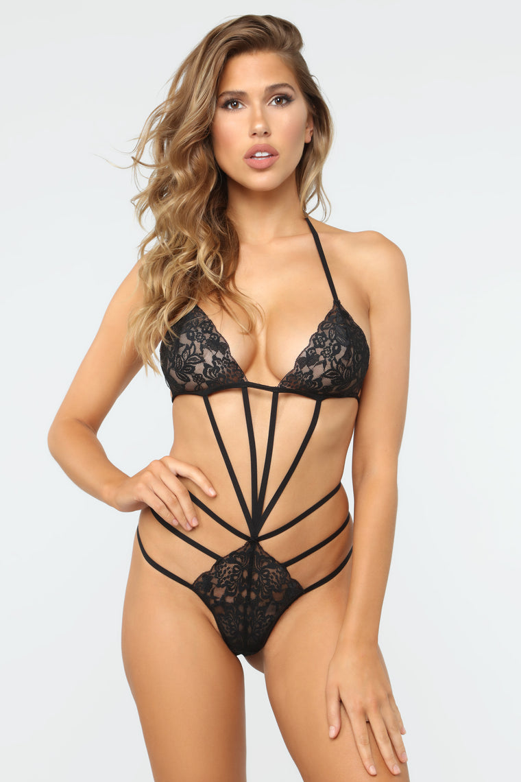 Tease Me Lace Teddy - Black