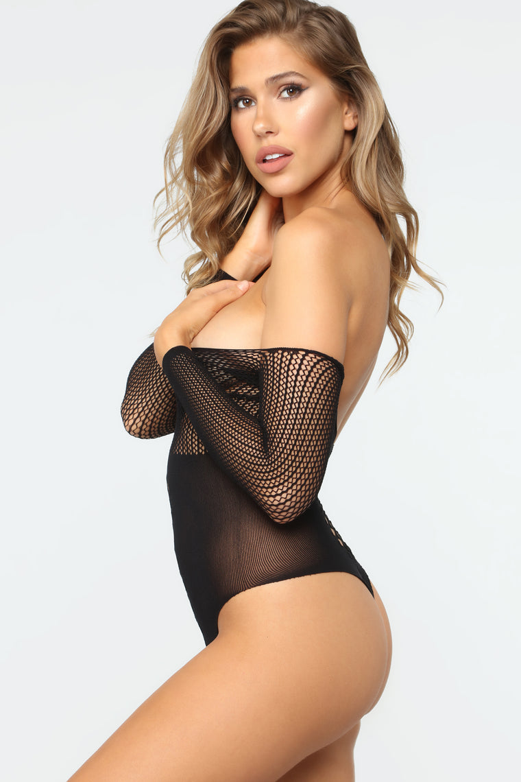 Deepest Desires Fishnet Teddy - Black