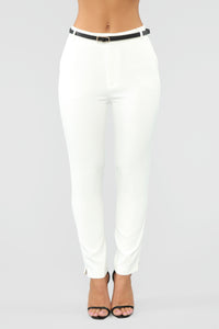 Here To Stay Belted Pants - White