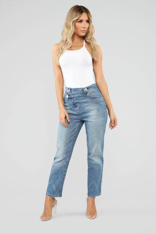 Something Special Asymmetrical Jeans - Medium Blue Wash