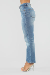 Something Special Asymmetrical Mom Jeans - Medium Blue Wash