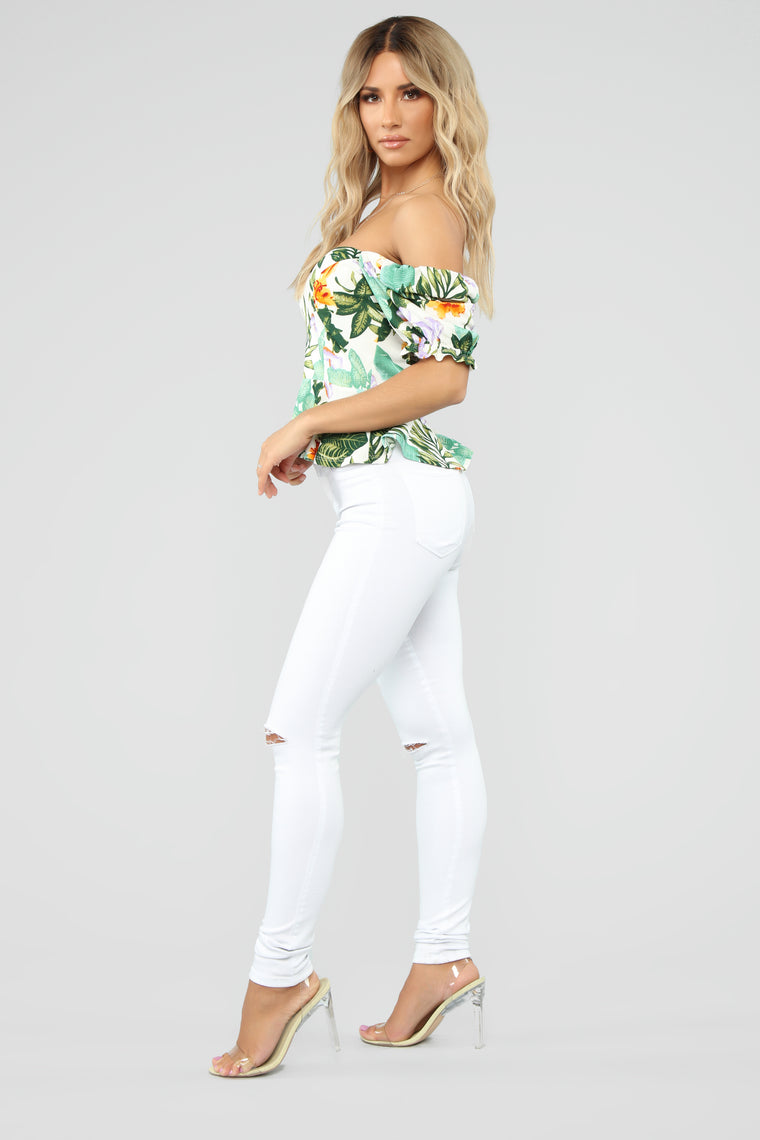 Tropical Moments Top - White/Combo