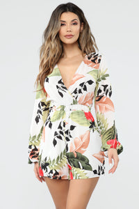 Vacay Chillin' Tropical Print Romper - White/Combo
