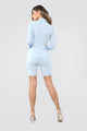 Office Break Biker Short Set - Light Blue