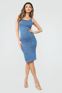 Calling My Phone Denim Midi Dress - Medium Wash Angle 2