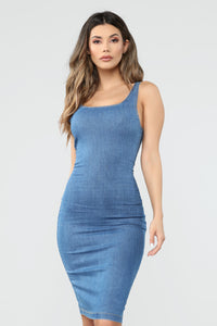 Calling My Phone Denim Midi Dress - Medium Wash Angle 1