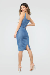 Calling My Phone Denim Midi Dress - Medium Wash Angle 4
