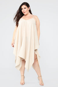 In The Flow Of Things Midi Dress - Taupe