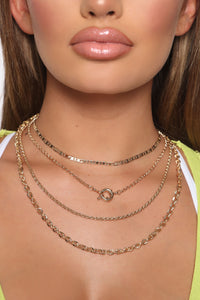 It's True Love Layered Necklace - Gold Angle 1